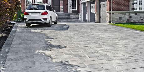 Image of a stone driveway featuring Trevista 80 Smooth (Grey Mix) product