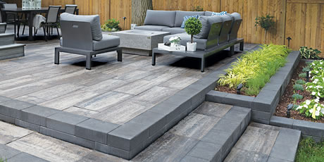 Image of a patio featuring Avari (Grey Mix) product with Avari (Ultra Black) border