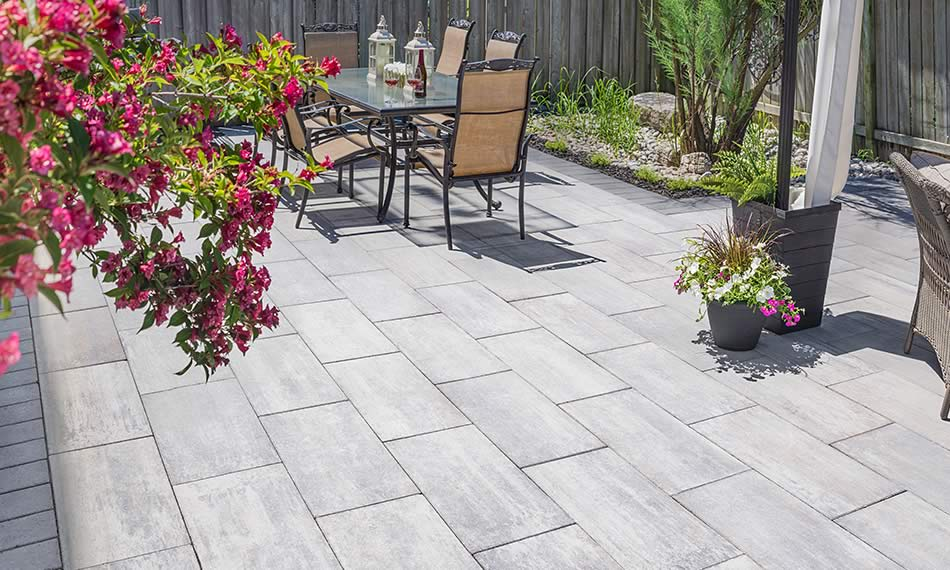 Image of a stone patio featuring Avari (Grey Mix) product