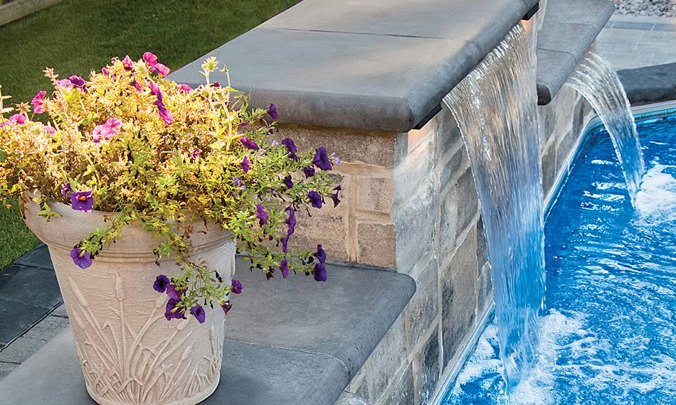 Poolside image featuring Bullnose Column Cap product