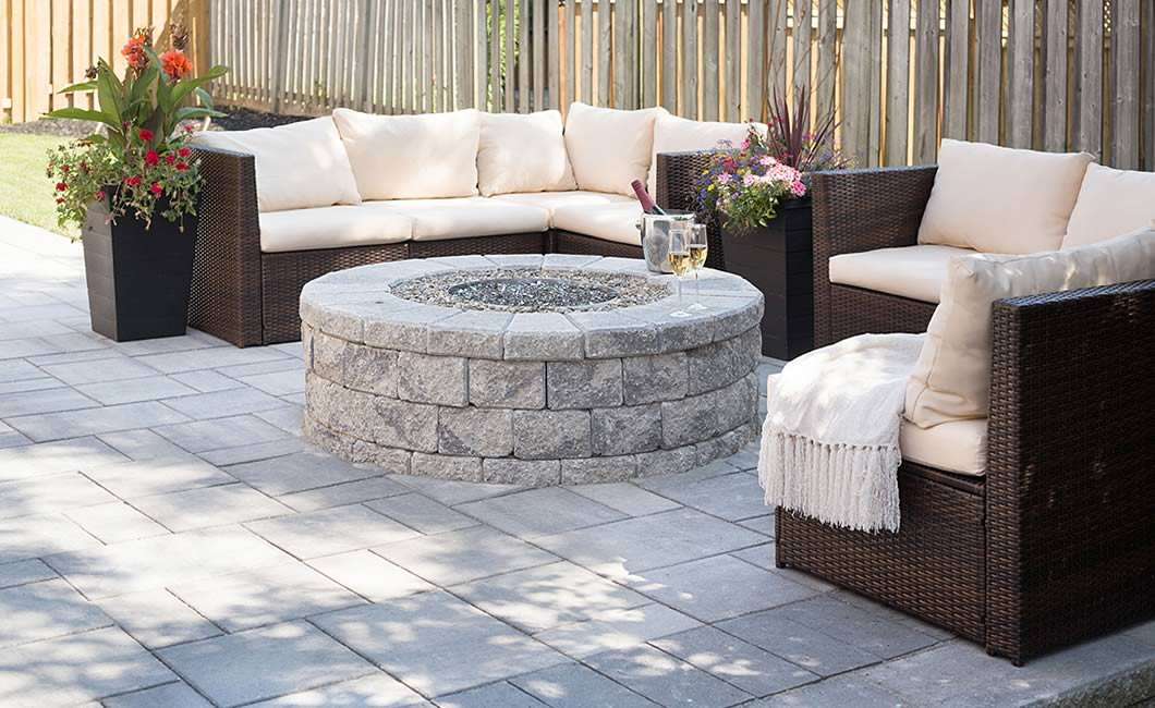 Image of a fire pit featuring Garden Lock Fire Pit (Grey Mix) and Trevista 50 Smooth (Grey Mix) products