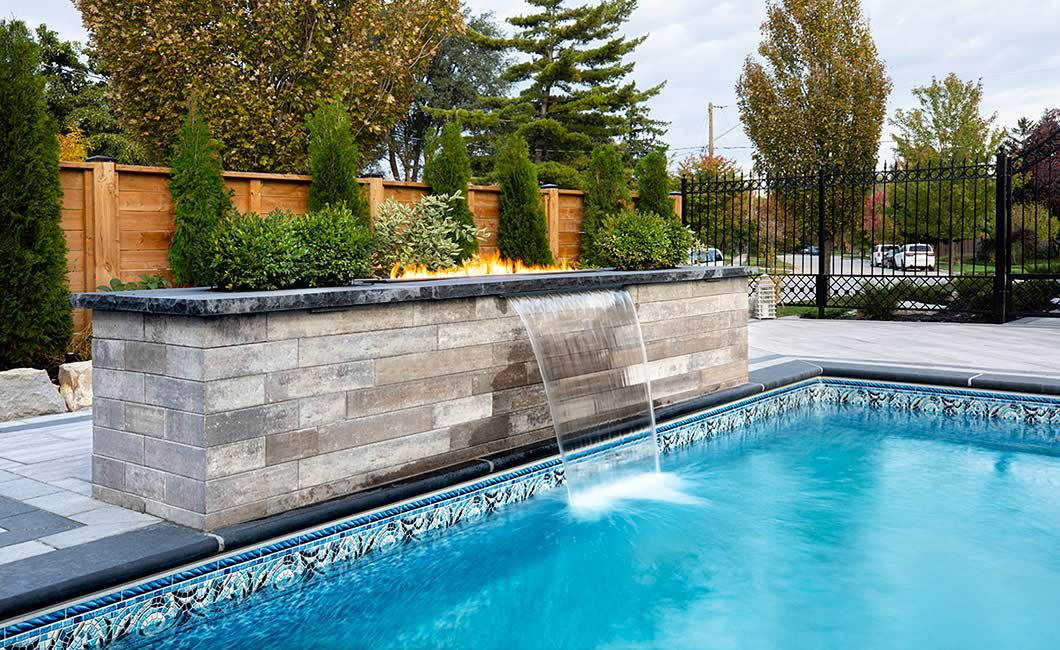 Image of poolside featuring Soho Wall (Glacier Creek) product