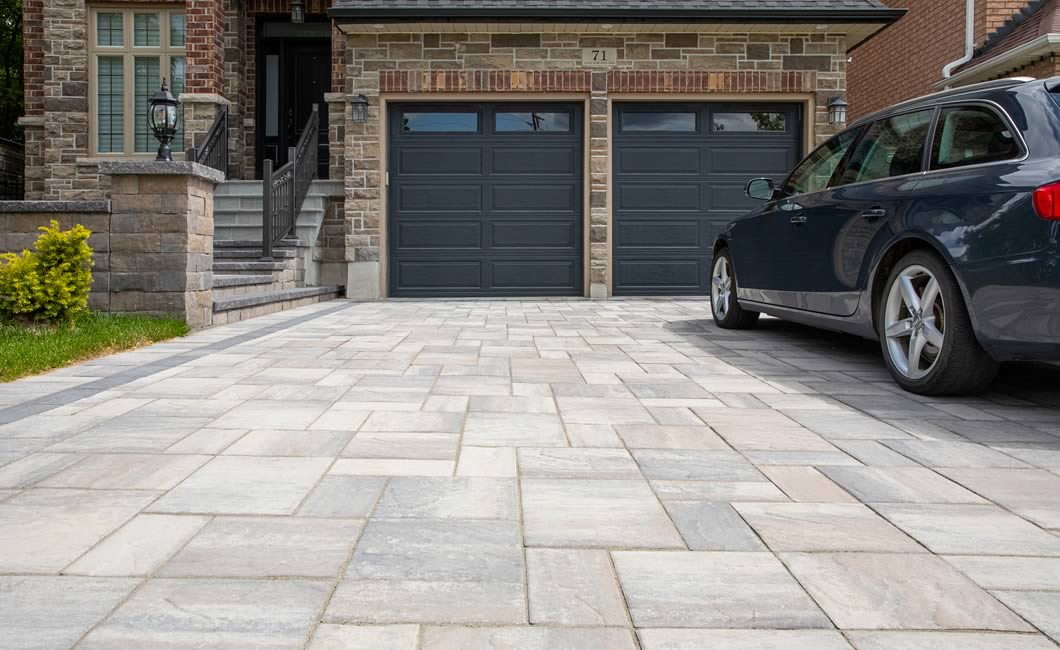 Image of a stone driveway featuring Trevista 80 Smooth (Beige Mix) product