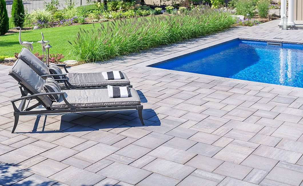 Image of poolside featuring Trevista Smooth (Grey Mix) product