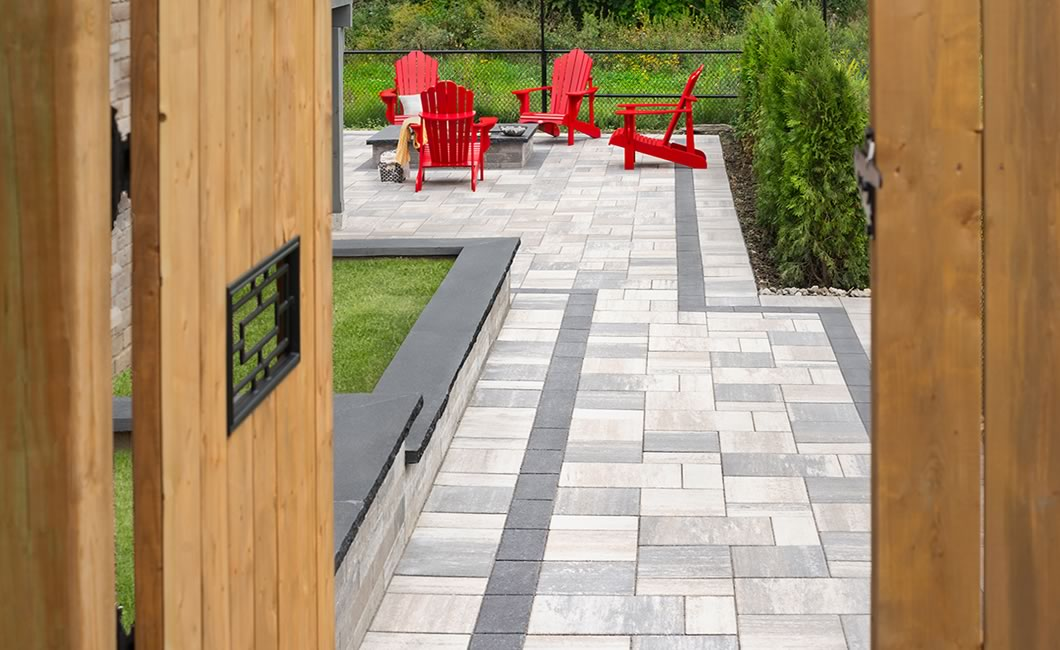 Image of a walkway featuring Trevista 50 Smooth (Glacier Creek) and Soho Wall (Glacier Creek) products