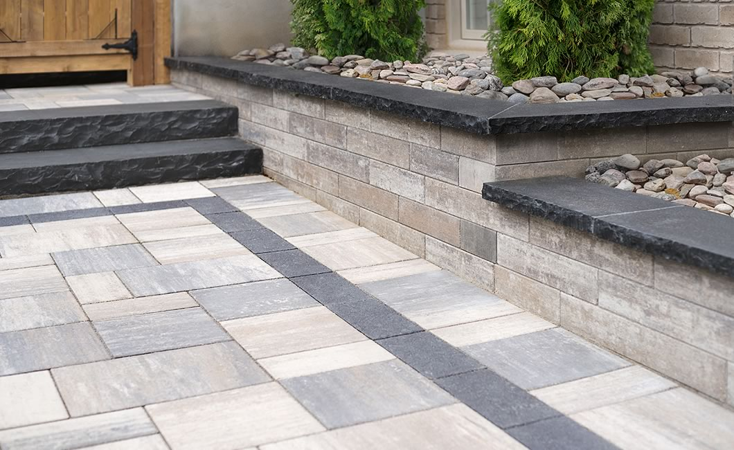 Image of a walkway featuring Soho Wall (Glacier Creek) and Trevista Smooth (Glacier Creek) products
