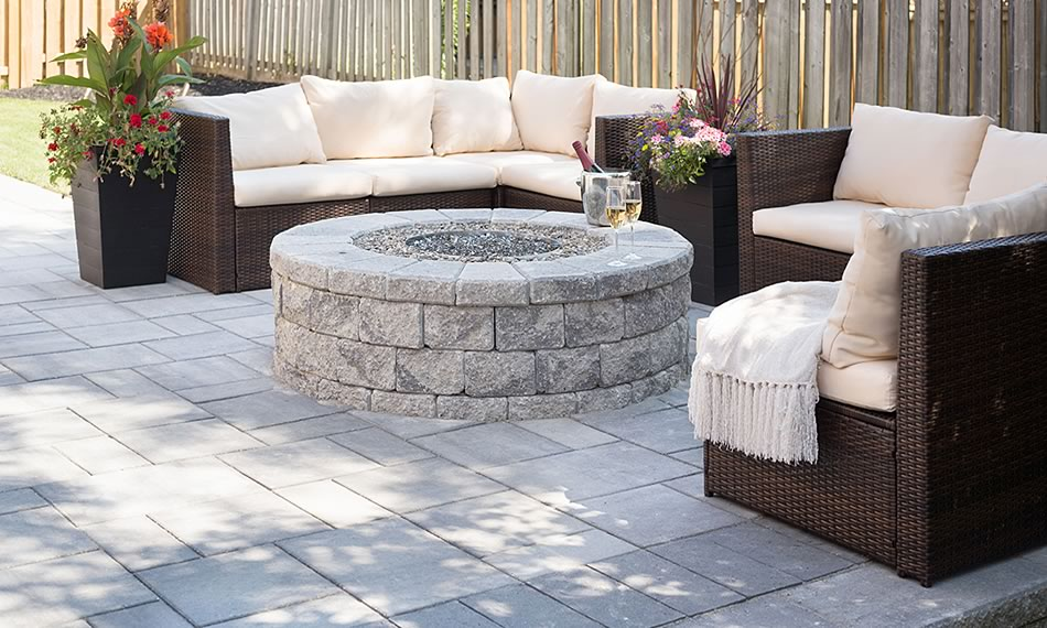Image of patio featuring Garden Lock Firepit product