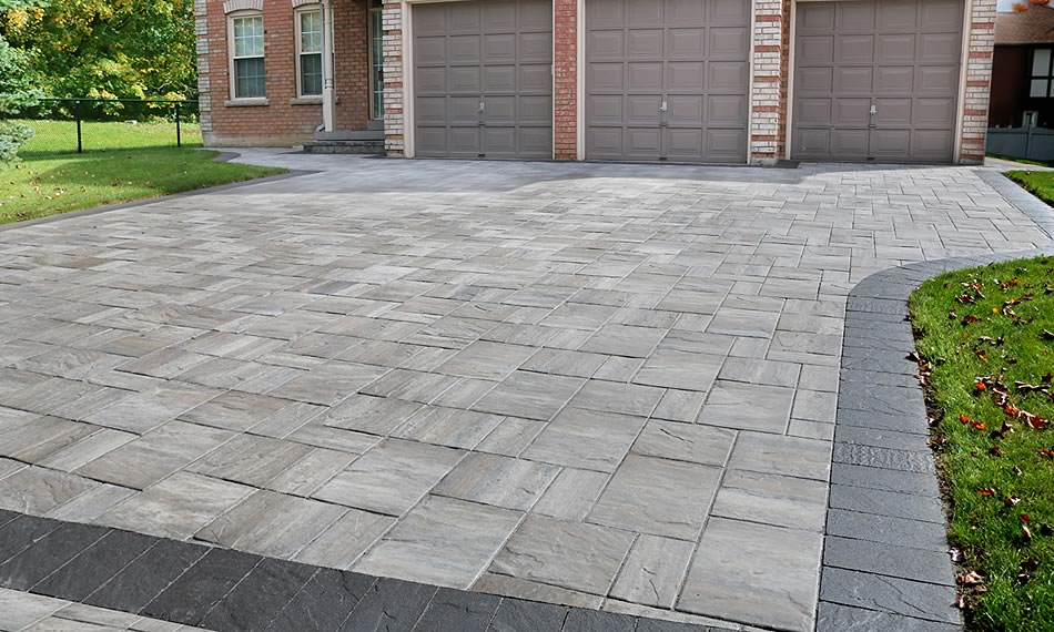 Image of a stone driveway featuring Trevista 80 Textured (Glacier Creek) product