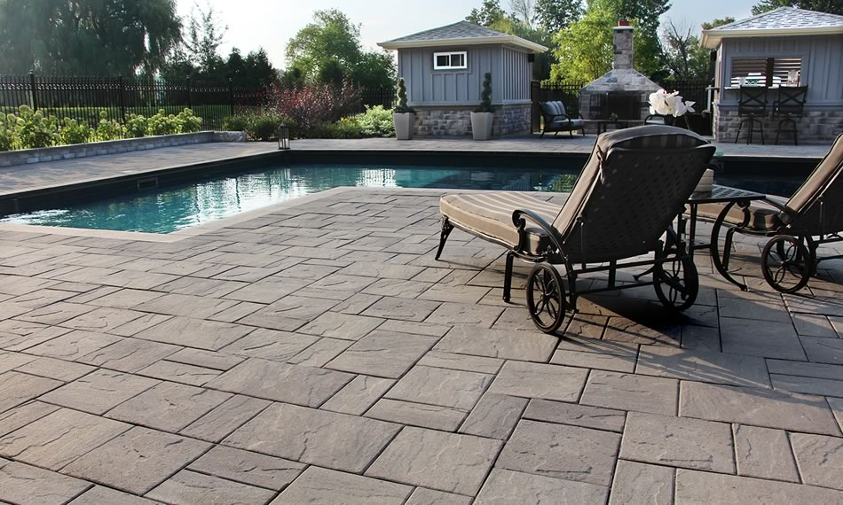 Image of poolside featuring Trevista 50 Textured (Driftwood) product